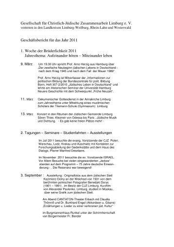 Geschäftsbericht 2011 - Gesellschaft für Christlich - Jüdische ...