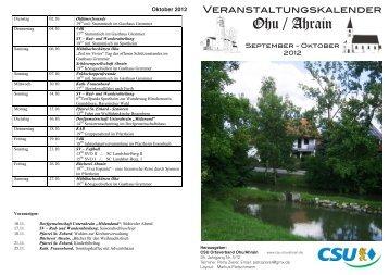 Veranstaltungskalender September Oktober 2012 - CSU