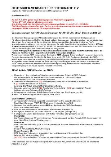 Bedingungen für AFIAP, EFIAP, EFIAP/Stufen und MFIAP