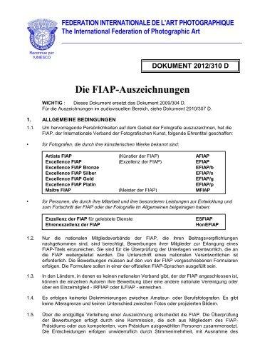 DOKUMENT 2012/310 D Die FIAP-Auszeichnungen - Deutscher ...
