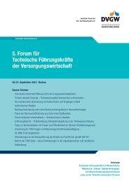 5. Forum für Technische Führungskräfte der ... - DVGW
