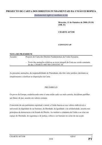 projecto de carta dos direitos fundamentais da união - Europa