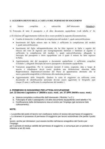 Stunning Aggiornamento Della Carta Di Soggiorno Photos - House ...