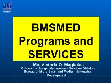 BMSMED Programs and SERVICES - Philexport