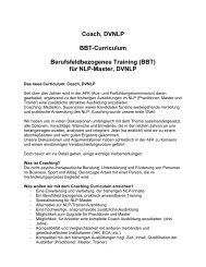Coach, DVNLP BBT-Curriculum Berufsfeldbezogenes Training