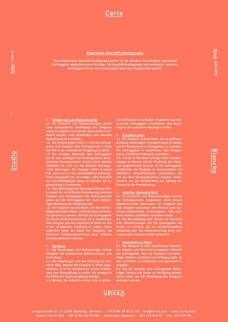 Allgemeine Geschäftsbedingungen / Carte Blanche Design Studio