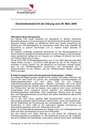 Gemeinderatsbericht der Sitzung vom 29. März 2005