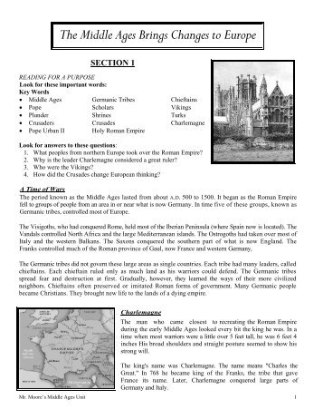 The Middle Ages Brings Changes to Europe - mr. moore's website