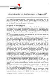 Gemeinderatsbericht der Sitzung vom 14. August 2007