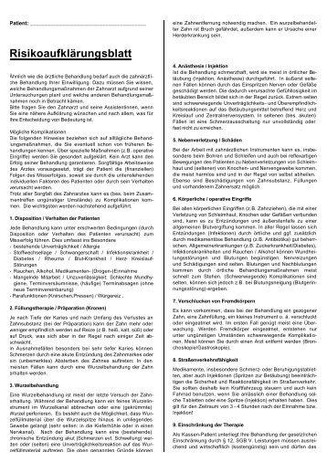 Risikoaufklärungsblatt - Dr. Strohkendl