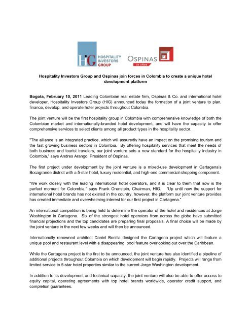 Hospitality Investors Group and Ospinas join forces in Colombia to ...