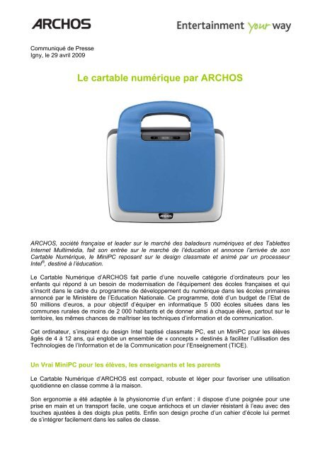 ARCHOS ARCHOS CARTABLE NUMERIQUE DOWNLOAD DRIVERS