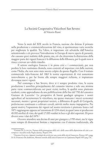 La Società Cooperativa Viticoltori San Severo - Biblioteca ...