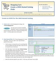 Shopping Cart: Create a JHHS Hosted Catalog Order