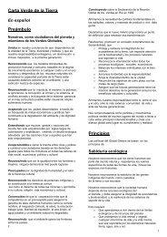 Carta Verde de la Tierra Preámbulo Principios - Global Greens