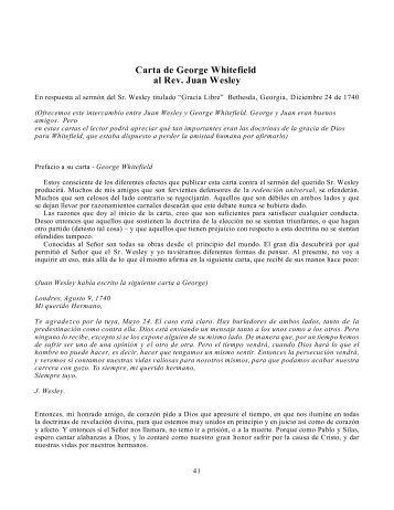 Carta de George Whitefield al Rev. Juan Wesley - Iglesia Reformada
