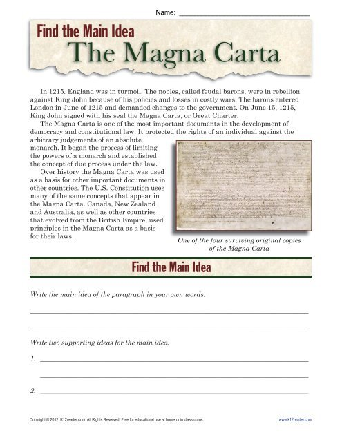 Main Idea Worksheets The Magna Carta