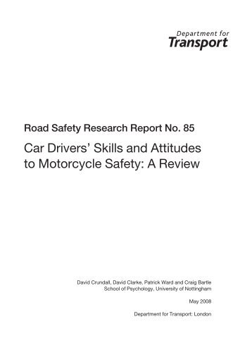 Car Drivers' Skills and Attitudes to Motorcycle Safety ... - Right To Ride