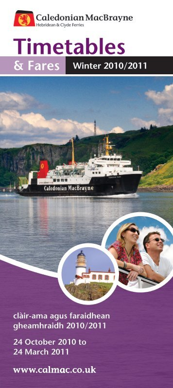 Timetables - Caledonian MacBrayne Ferries