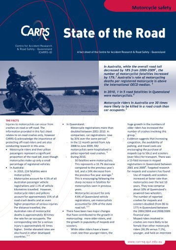Motorcycle safety fact sheet - Centre for Accident Research and ...