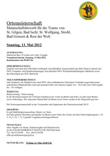 Sonntag, 13. Mai 2012 - Salzkammergut Golfclub