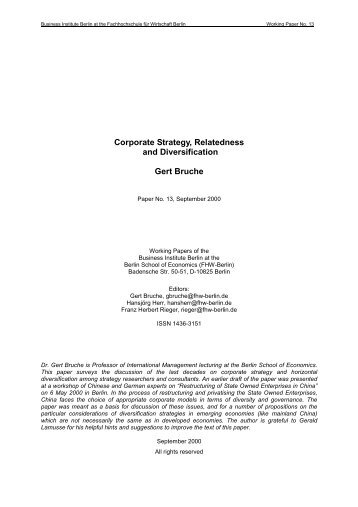 Corporate Strategy, Relatedness and Diversification Gert Bruche