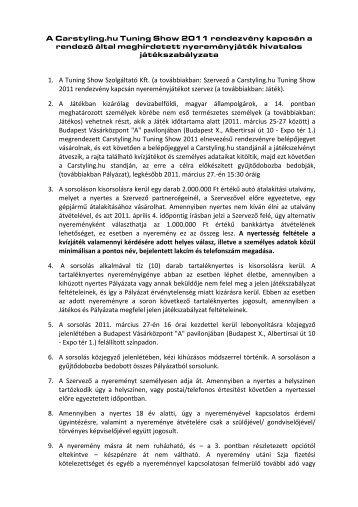 Játékszabályzat - carStyling.hu