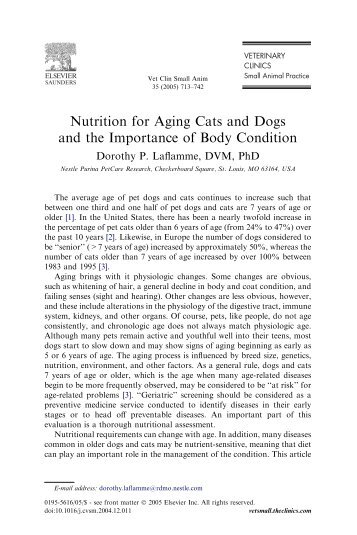 Nutrition for Aging Cats and Dogs and the Importance of Body ...