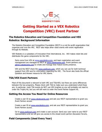 Getting Started V Ting Started As A Vex Robotics Competition Vrc