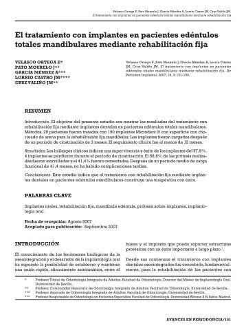 El tratamiento con implantes en pacientes ... - SciELO España