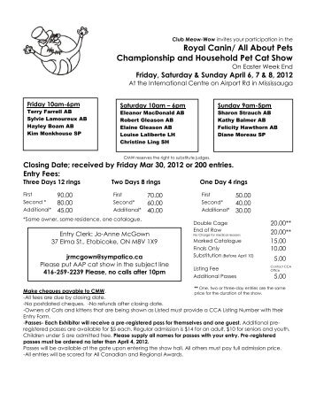 About Pets Championship and Household Pet Cat Show