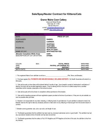 Sale/Spay/Neuter Contract for Kittens/Cats Grarov - Graro Maine ...