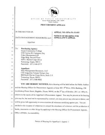Scheduling Order re Hearing For Appellant's Appeal - Guam OPA ...