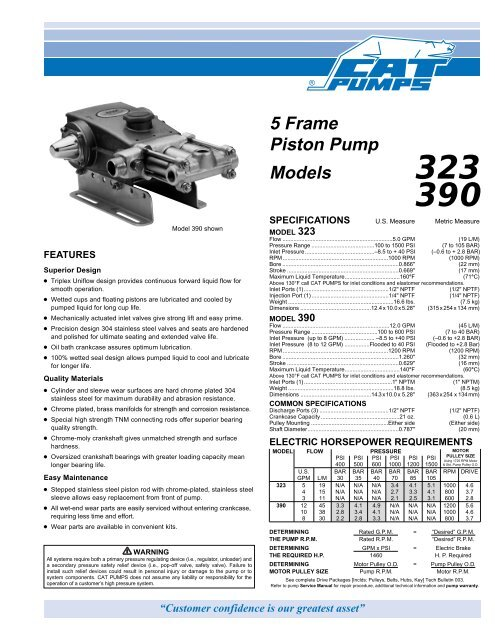 323, 390 Triplex Piston Pump Data Sheet - Cat Pumps