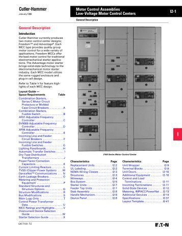 Table of contents af95 is for Cutler hammer motor control center