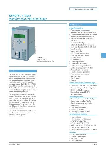 SIPROTEC 4 7SJ62 Multifunction Protection Relay - Siemens