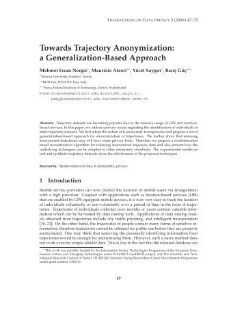 a Generalization-Based Approach - Transactions on Data Privacy