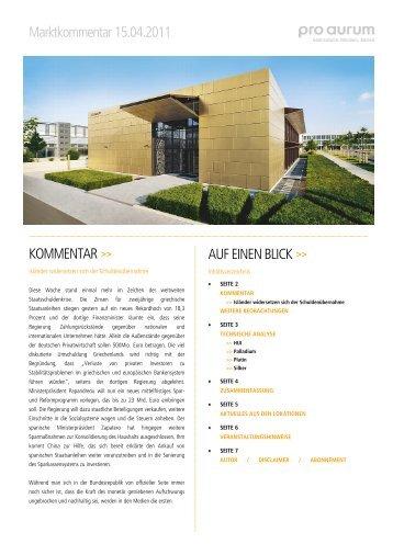 Marktkommentar 15.04.2011 KOMMENTAR >> AUF ... - Pro Aurum