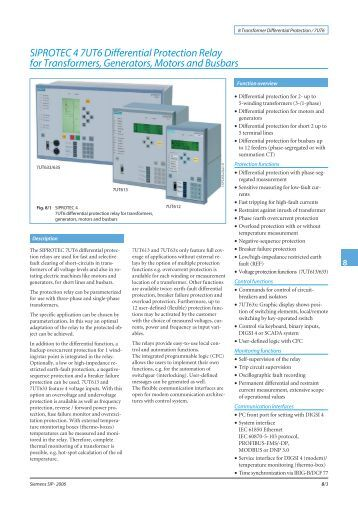 SIPROTEC 4 7UT6 Differential Protection Relay for ... - Siemens