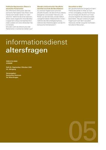 Heft 05/2008 - Deutsches Zentrum für Altersfragen