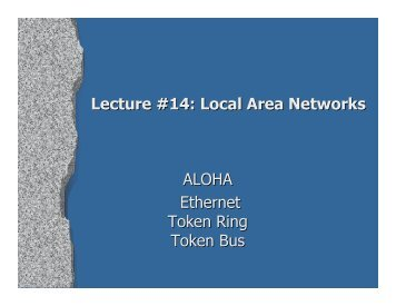 Lecture #14: Local Area Networks ALOHA Ethernet Token Ring ...