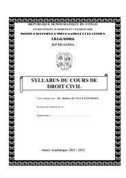 SYLLABUS DU COURS DE DROIT CIVIL - ISIG GOMA