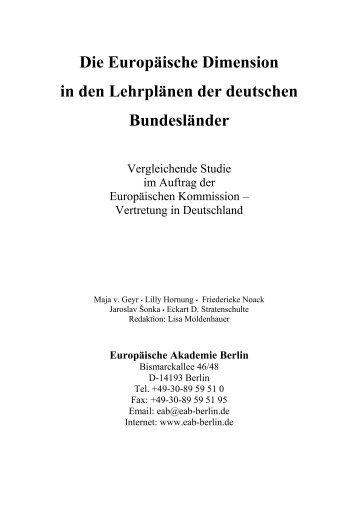 Die Europäische Dimension in den Lehrplänen der  deutschen ...