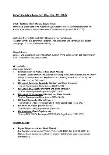 Inhaltsbeschreibung der Register-CD 2005 - DBGG