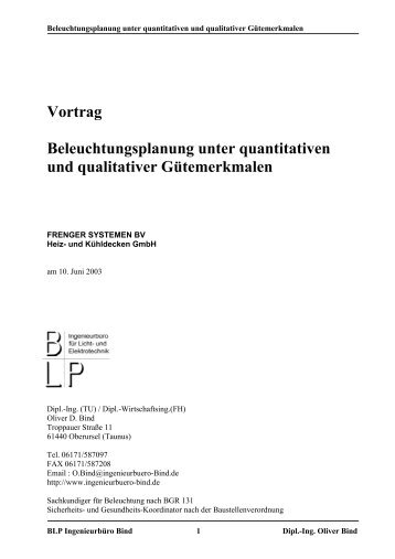 Vortrag Beleuchtungsplanung unter quantitativen und qualitativer ...