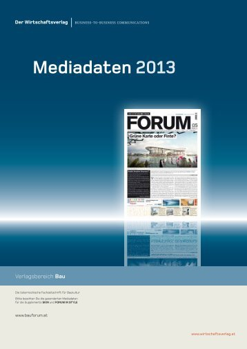 Mediadaten 2013 - Architektur & Bauforum