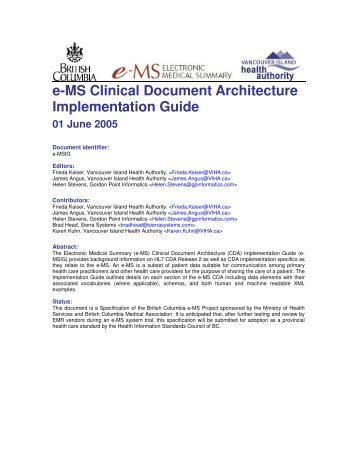 e-MS Clinical Document Architecture Implementation Guide