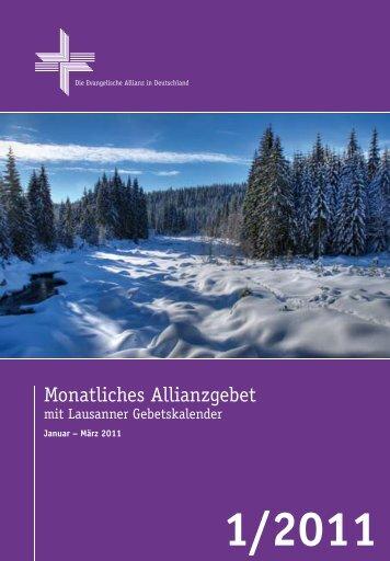 Gebetsheft 1. Quartal 2011 - Deutsche Evangelische Allianz
