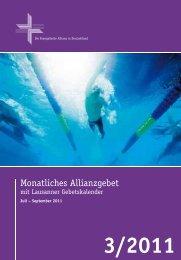 Gebetskalender September 2011 - Deutsche Evangelische Allianz