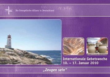 Gebetsheft Allianzgebetswoche 2010 - Deutsche Evangelische Allianz